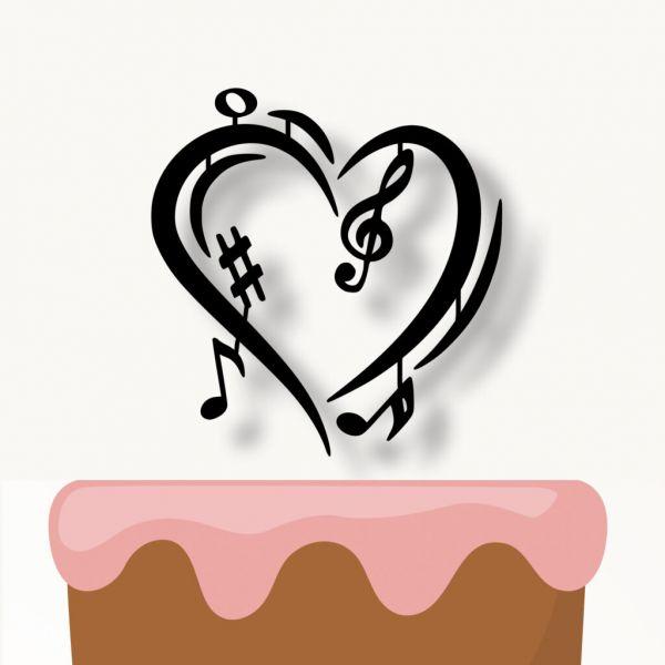 Zápich na dort - srdce a noty